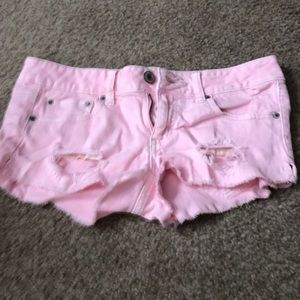 Adorable baby pink jean shorts. Size 6!